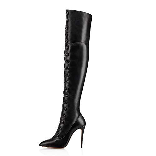 XER Women'S Boots, hoge hakken knie-hoge laarzen maat 34-46 voor Fancy Dress Party(zwart)