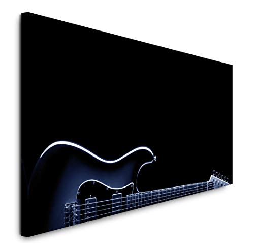 Paul Sinus Art GmbH Gitarre in schwarz 120x 50cm Panorama Leinwand Bild XXL Format Wandbilder Wohnzimmer Wohnung Deko Kunstdrucke