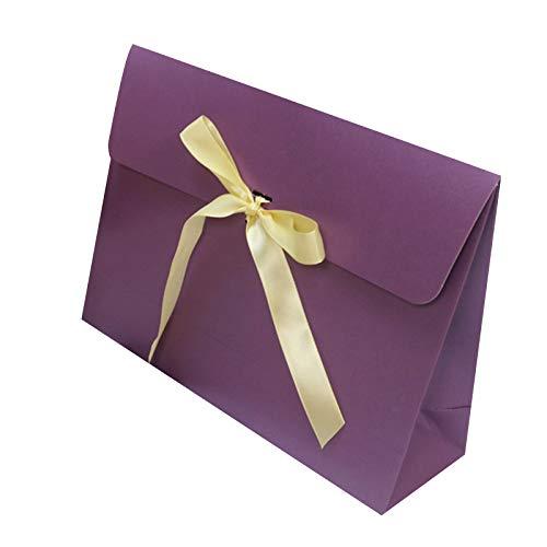 Kleines Papiergeschenk 10 Stück Geschenktüten mit Satinschleife Band Papier Partybevorzugungstasche für Weihnachtsgeburtstag Hochzeitsgeschenk