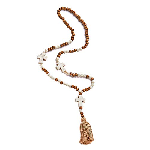 Harilla Damen Boho Sweater Chain Fransen Halskette Choker Schmuck Geschenkzubehör - Kreuz