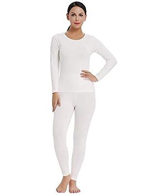 Amorbella Womens Cotton Inner Ski Warm Winter Thermal Wear Set Top Shirt Bottom Pant(White,XXL)