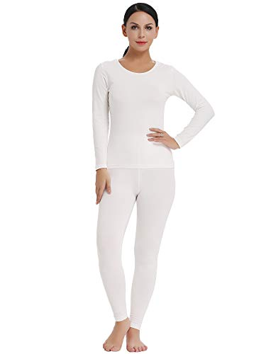 Amorbella Womens Warm Winter Running Thermal Underwear Base Layer Top Shirt Pants Leggings(White,XL)