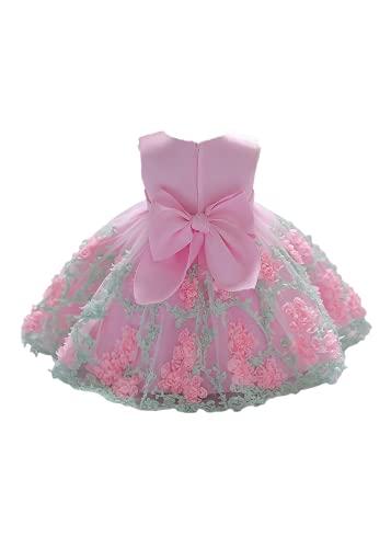 Carolilly Sommer Baby Mädchen Kleid Prinzessin Kutte Taufkleid für Baby Mädchen Kleidung Geburtstag Party Hochzeitskleid (Rosa, 1-2 Years)