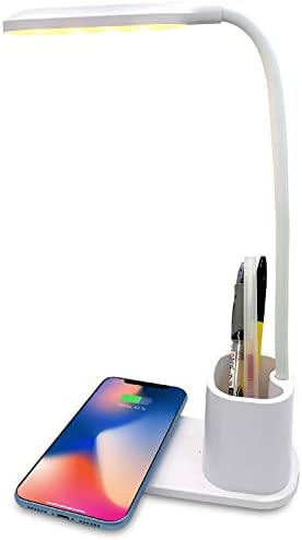 Deke Home 3 Brightness Level Dimmable LED Desk Wireless Charger Lamp with Pen Holder Eye Caring product image