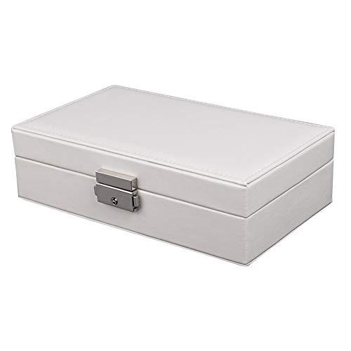 ZYC Joyero compacto y espacioso de franela portátil, collar, pendientes, reloj, anillos, organizador, color blanco