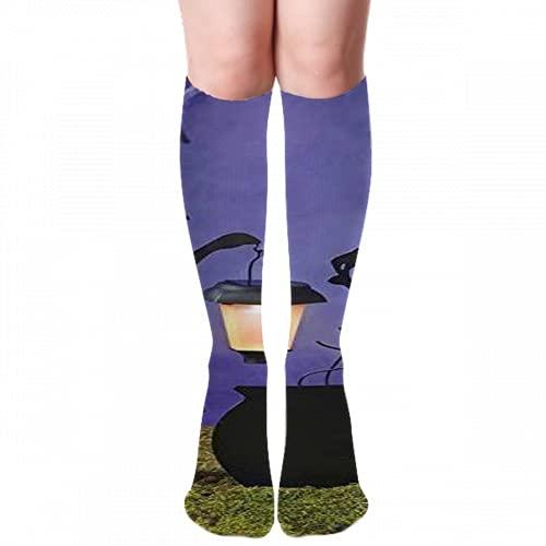 Bruja caldero Solar44 calcetines altos para la rodilla del muslo para mujer, compresión en blanco y negro antideslizante, botas largas, gruesas y cálidas medias sobre la rodilla