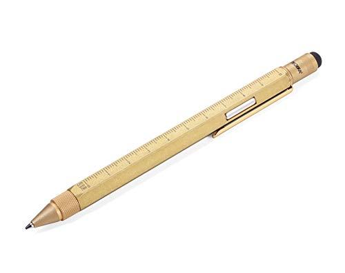 TROIKA CONSTRUCTION MAGNET – PIP29/AB – Multitasking-Kugelschreiber – integr. Magnet zur Befestigung – technisches Zeichnen – für Werkstatt, Kühlschrank & Schreibtisch – Zentimeter-/Zoll-Lineal