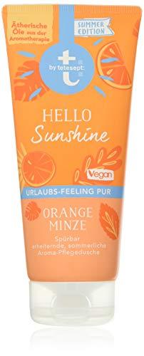 t: by tetesept Aroma-Dusche Hello Sunshine, Duschgel mit erfrischender Duftkomposition nach Orange und Minze - Pflegedusche vegan - 1er Pack (1 x 200 ml)