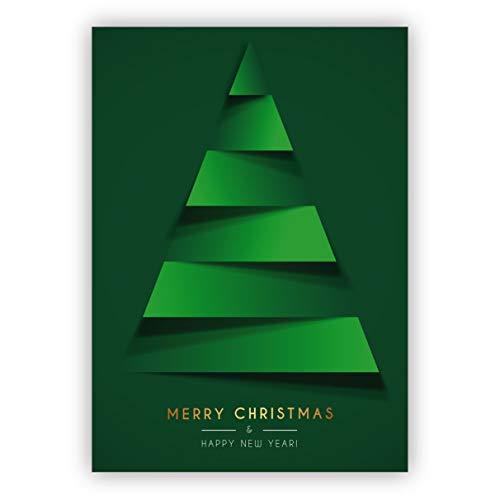 10 Stück Moderne grüne, reduzierte Weihnachtskarte mit grafischem Weihnachtsbaum: Merry Christmas & happy new year • weihnachtliches Grußkarten Set mit Umschlägen zum Fest der Liebe