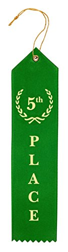 Award Ribbons Place 1st 2nd 3rd 4th 5th Premium Flat Carded Set - Blue Red White Yellow Green & Event Card 12 Each (60 Pack) - by Clinch Star Photo #4
