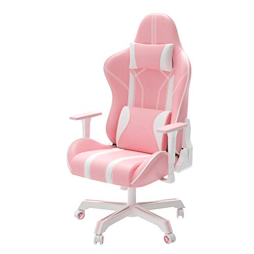 Draaibare bureaustoel, computerstoel Ergonomische gamestoel Home Game Rugleuning Reclining Rotary Lift Chair Roze