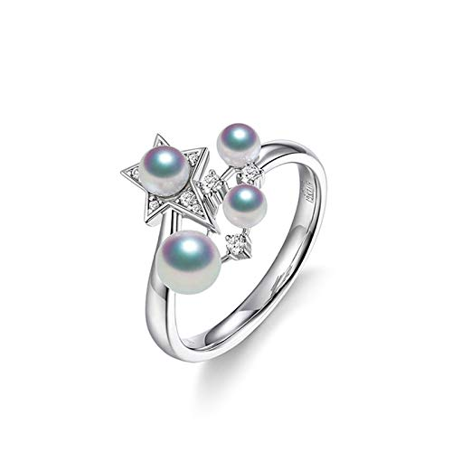 Daesar Anillo de Mujer Plata Anillo Oro Blanco 18K Mujer Estrella con Perlas Diamante 0.09ct