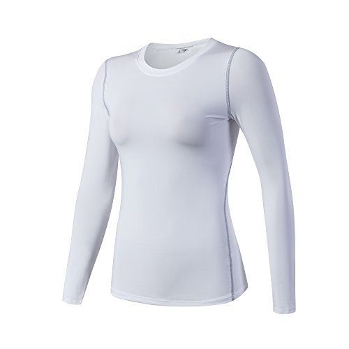 iEventStar Damen-Unterziehshirt, langärmelig, kühl, trocken, 1 Pack: weiß, Tag Size XL (UK/EU Size L)
