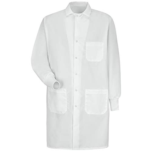 Red Kap Unisex Specialized Cuffed Lab Coat with 3 Front Pockets, White, Medium