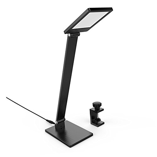 BESTEK Dimmable LED Desk Lamp,3 Adjusted Color Temperature/Brightness Level Eye-Care Table Lamp,Superior Aluminum-Alloy,Rotatable Arm/Head, Perfect for Home Office Hotel, 8W, Black with clamp