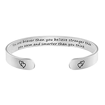 Encouragement Gifts for Women You are Braver Than You Believe Stronger Than You Seem and Smarter Than You Think Cuff Bangle Bracelet