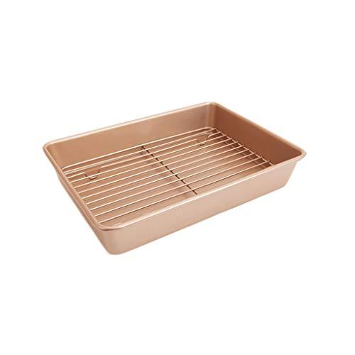 13 pouces en acier au carbone plateau de cuisson antiadhésif four moules à rôtir torréfaction moule à pain avec support de refroidissement (Color : B)