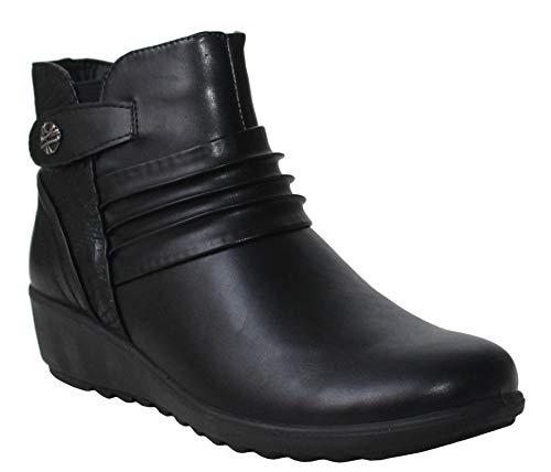 Cushion Walk Womens Ladies Lightweight Zip Up Girls Casual Comfort Ankle Boots UK Sizes 4-8 (UK 5, Black/Snake)