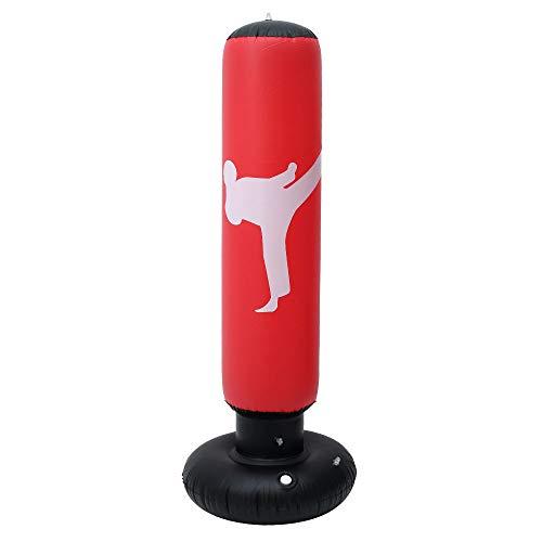 Sacco da Boxe da Terra 160 cm Sacco da Boxe per Adulti e Bambini Sacco di Sabbia Gonfiabile Fitness Gonfiabile Indipendente (rosso)
