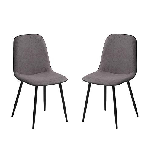 Dining Chairs Set of 2 Counter Corner Kitchen Chairs with Black Metal Legs and Backrest & Soft Faux Leather Seat for Lounge Office Dining Kitchen (Color : Grayish Brown)