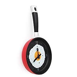 shamrock58 Flat Bottom Pot Omelettes Clock Bar Decor Personality Pocket Watch Wall Clock Yellow Red 36x19x3 cm (Red)