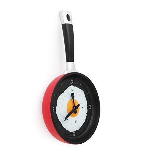 LQQZZZ Reloj De Pared Pan, Reloj De Pared De Huevo Frito De Cocina Hecho De Material ABS, Movimiento Silencioso A Prueba De Humedad Utilizado En La Cocina/Sala De Estar/Comedor,Rojo