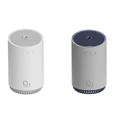 Junney Mini humidificador humidificador de niebla fría, difusor inalámbrico, para dormitorio, coche, oficina, humidificador personal con apagado automático (blanco + gris)