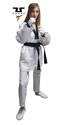 Tusah - Dobok EasyFit Fighter Ultraligero para Taekwondo Reconocido WT Cuello Negro Black Collar (180)