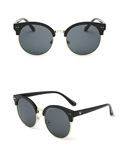 HPPSLT Polarisierte Sonnenbrille Metallrahmen, Damen Sonnenbrille schillernde Farbfilm Sonnenbrille-8