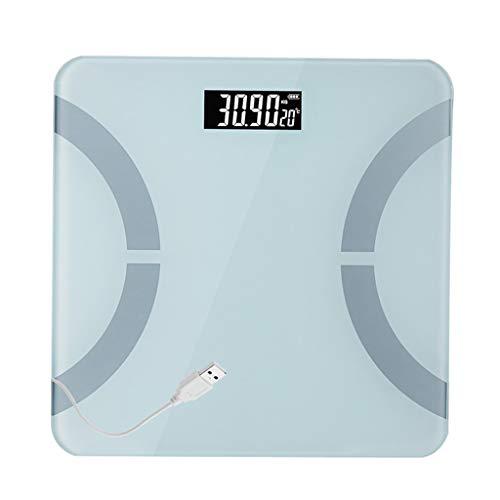 Básculas Digitales Báscula de baño Digital Escala de pesaje electrónica de Alta precisión Súper Clara Amplia Plataforma de Vidrio de Cristal Templado Carga USB