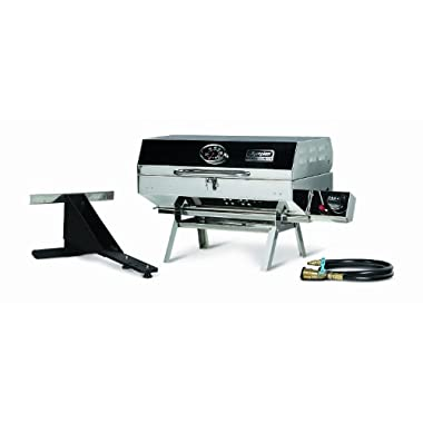 Camco Olympian 5500 Stainless Steel Portable Gas Grill by Connects To Low Pressure Supply On RV, Includes RV Mounting Bracket And Folding Tabletop Legs - 180  (57305)
