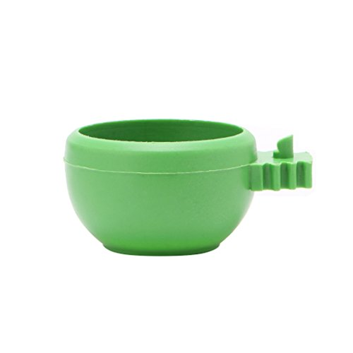 Wuliuen Mini Parrot Food Water Bowl Feeder Plastic Pigeons Birds Cage Sand Cup Feeding Green