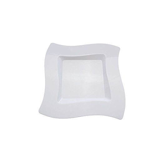 Fineline Settings 10-Piece Wavetrends Square-Wave China-Like Plate, 10.75-Inch, White
