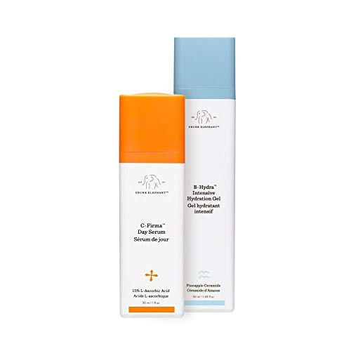 Drunk Elephant Rise + Glow Duo - Morning Skin Care Set. C-Firma Day Serum and B-Hydra Intensive Hydration Gel with Vitamin B5. 8 Milliliters Each.