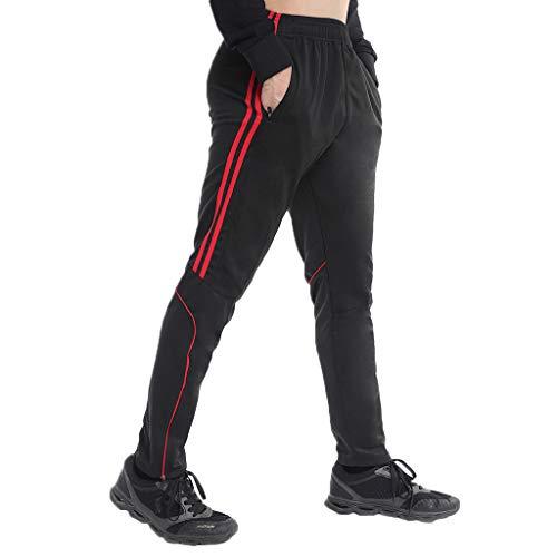 STARBILD Men's Athletic Track Pants Striped Soccer Training Pants Running Jogger Pants with Zipper Pockets L
