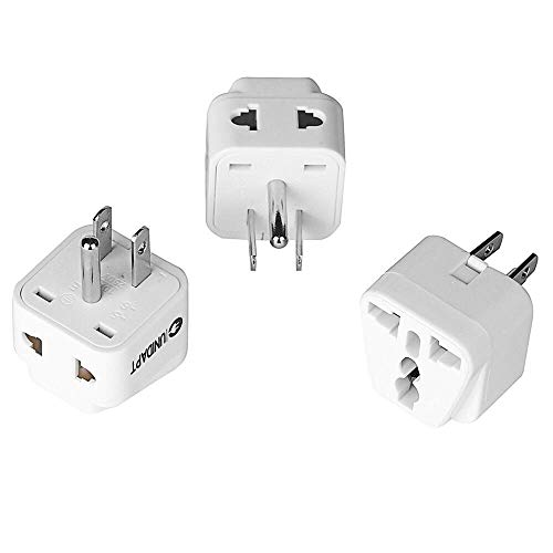 US Plug Adapter - Unidapt EU Europe to USA American Travel Power Plug Adapter - Dual Inputs - Safe Grounded Outlet - European to USA Canada Universal Socket (Pack of 3)