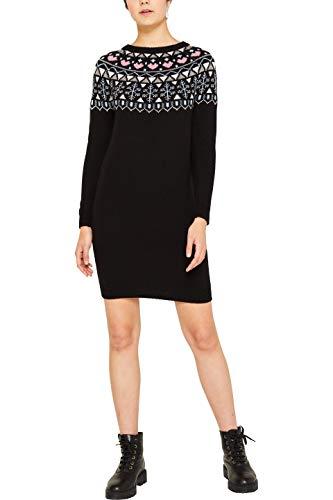 edc by ESPRIT Damen 119CC1E015 Kleid, Schwarz (Black 001), Medium (Herstellergröße: M)
