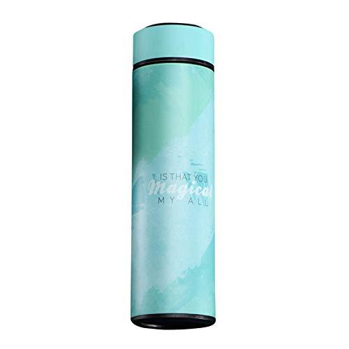 AILIEE Edelstahl Stahl Thermosflasche LCD-temperaturanzeige Smart Kettle USB Mobile Power Trinkflasche Edelstahl 304 Isolierflasche Travel Mug Thermo-/isolierbecher 500ml (#4 Grün, 20x6.5cm)
