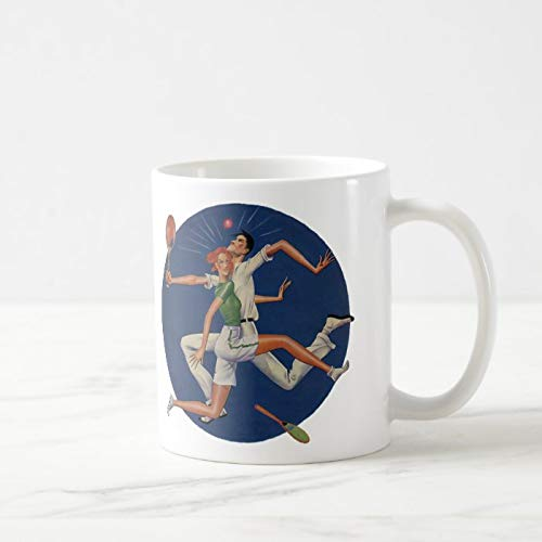 Divertida taza de café, diseño de jugadores de tenis con raquetas, taza de café, taza de té, taza de café, taza de café, taza de café de 12 onzas
