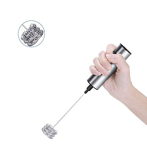 Le fouet tenu dans la main de mousseur de lait de Bycws, mélangeur électrique de boisson de café de fabricant de mousse électrique à piles avec la tête de fouet de ressort d'acier inoxydable de trois