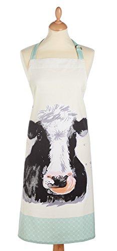 Textiles 101 KitchenCraft Kochschürze mit Bauernhof-Tiermotiven, verstellbar, 100 % Baumwolle, bedruckt, cremefarben / Salbeigrün