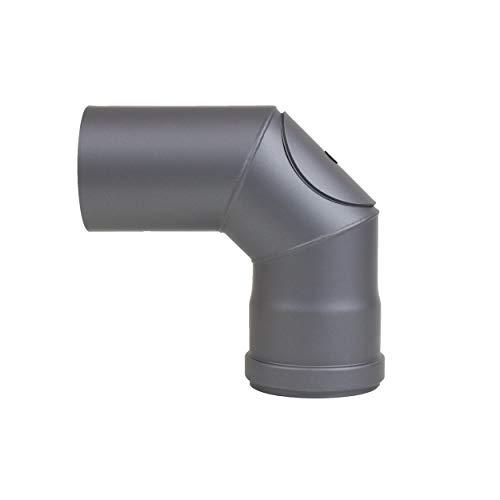 LANZZAS pellepijp boog 90° graden met reinigingssluiting, diameter DN Ø 80 mm, in zwart metallic en gietijzeren grijs, pelletbogen, kachelpijp boog, voor pelletkachels modern Gussgrau
