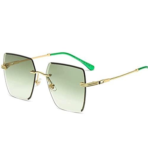 ZHSGV Gafas de sol sin montura para mujer, antiultravioleta, elegante, de color claro, de moda cuadrada (color: B, tamaño: -cm)