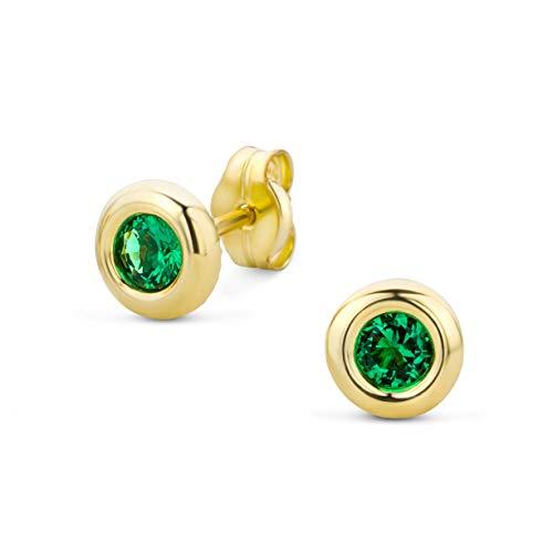 Orovi Damen Ohrstecker Ohrringe Set,Gelbgold Ohrstecker 9Karat (375) mit Smaragd