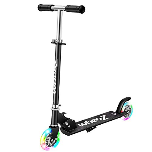2 wheels scooters WheoZ Kick Scooters for Kids 2 Wheel Folding Kick Scooter for 3+Years Old Boys & Girls 3 Adjustable Height PU LED Light Up Wheels for Children