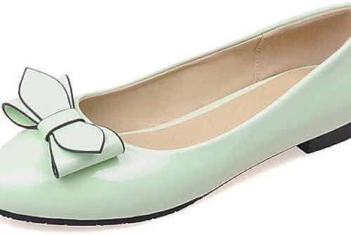 DFGBDFG PDX Damen Damen Damen Schuhe Patent Leder flach Ferse rund Wohnungen Office & Karriere Kleid Casual SchwarzGrün Rosa Weiß  wird dich zufrieden stellen