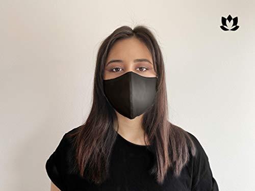 Waschbare Premium Mundschutz Maske aus 70{ce87928f12f26616037beb8932acaf5bcfbb1695686e4f39bcc98b37a7554706} Baumwolle in schwarz (1x) I Oeko-Tex 100 und CE Zertifiziert I Geruchsneutral I Antibakterielle Wirkung I Wasserabweisend I Umweltfreundlich I Unisex Größe