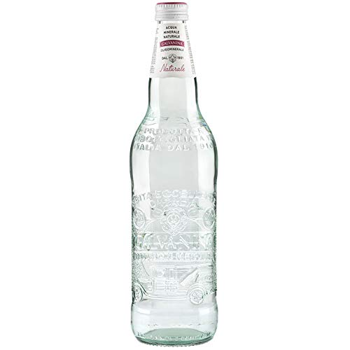 Agua mineral natural | Galvanina Century | 12 botellas de cristal esculpido 75 cl | Diseño en mesa | Estilo italiano