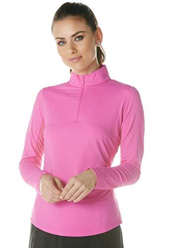 IBKUL Damen Sonnenschutz-Top, LSF 50+, kühlend, langärmlig, Mock-Neck, 80000, Hot Pink, Solid XL
