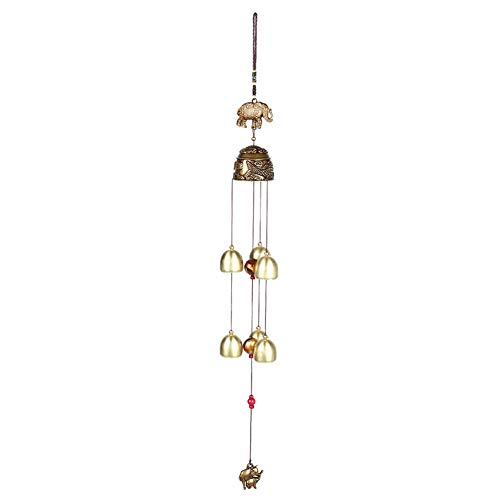 KSTE Feng Shui Glocke, Windspiele - Vintage Blätter Elephant Auspicious Hanging Ornament, viel Glück Feng Shui Bronze Farbe Glocken, Windspiele China Home Decor (Farbe : Elephant)
